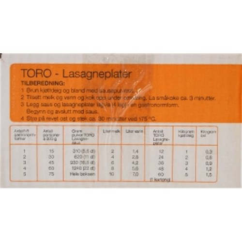 LASAGNEPLATER 3KG TORO