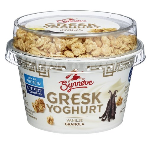 YOGHURT GRESK DUO VANILJE&GRANOLA 165GX6STK