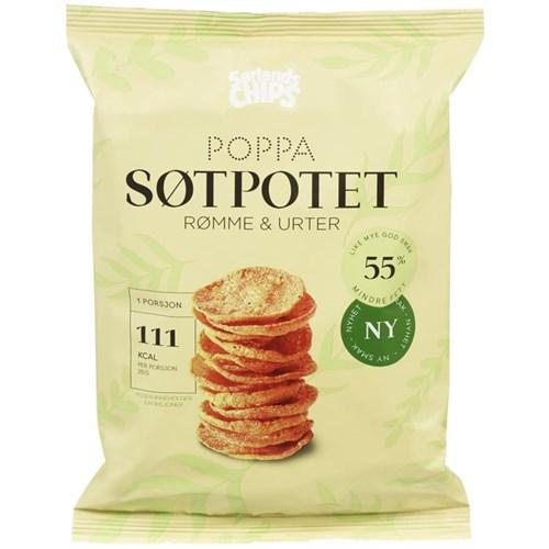 POPPA CHIPS SØTPOTET 75GX12POS SØRLANDSCHIPS