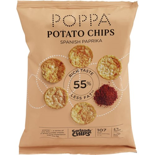 POPPA CHIPS SPANSK PAPRIKA 75GX12POS